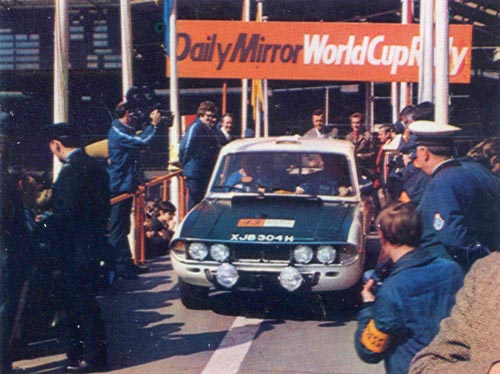 Triumph 2.5 PI XJB 304H at the Start of the 1970 Daily Mirror World Cup Rally