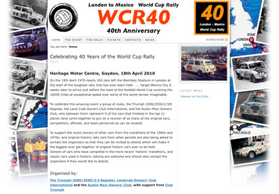 London to Mexico World Cup Rally 40th Anniversary website
