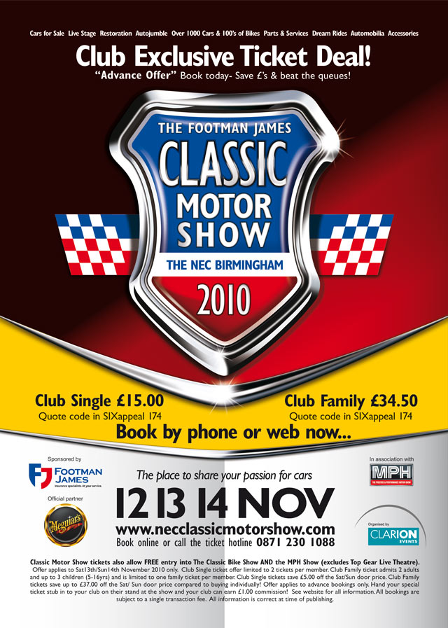 Classic Motor Show 2010 discount ticket information